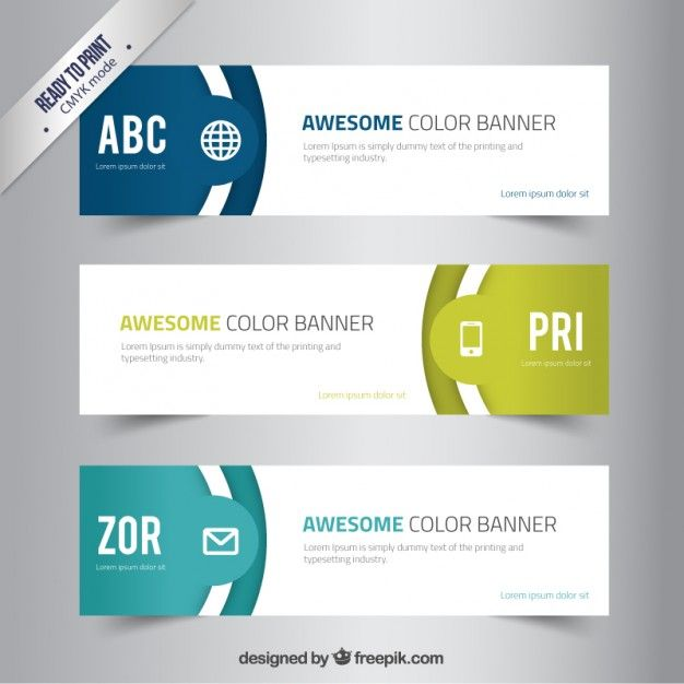 Awesome Color Banners Free Vector Data Visualization Pinterest
