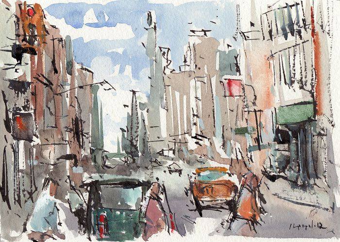 Line Drawing Nyc : Original cityscape painting ink urban watercolor new york city