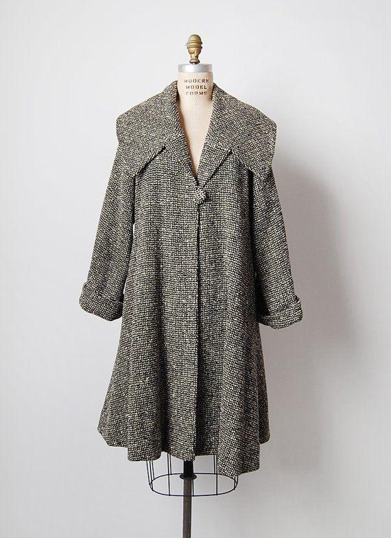 vintage 1950s coat / 50s swing coat / tweed swing by cutxpaste ...