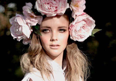 lush pink floral head wreath...and i mean LUSH!