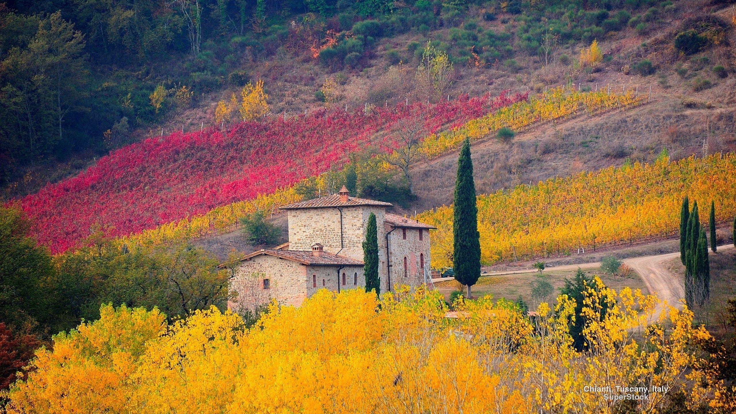 Tuscany Italy Autumn Landscape Fields Trees Nature Landscapes