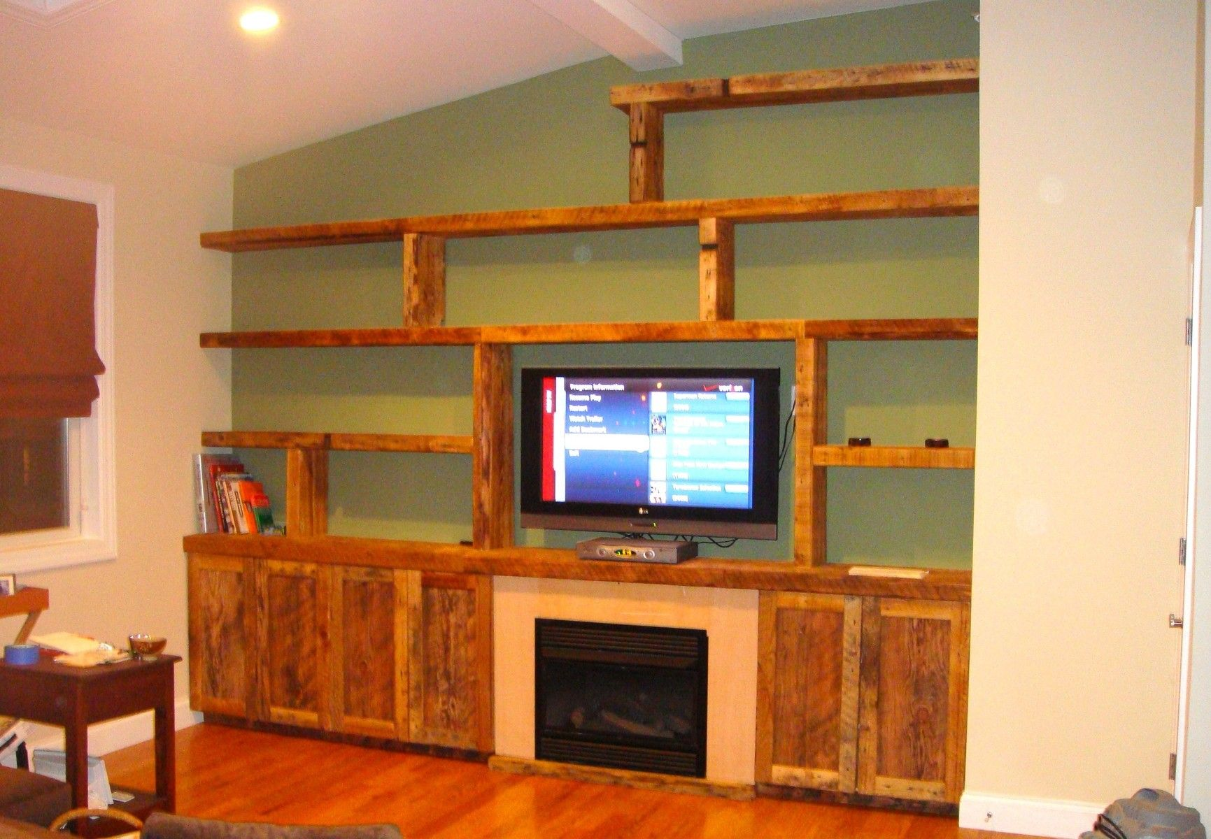 Interior Furniture Rustic Varnished Wooden Wall Book Case With Wall