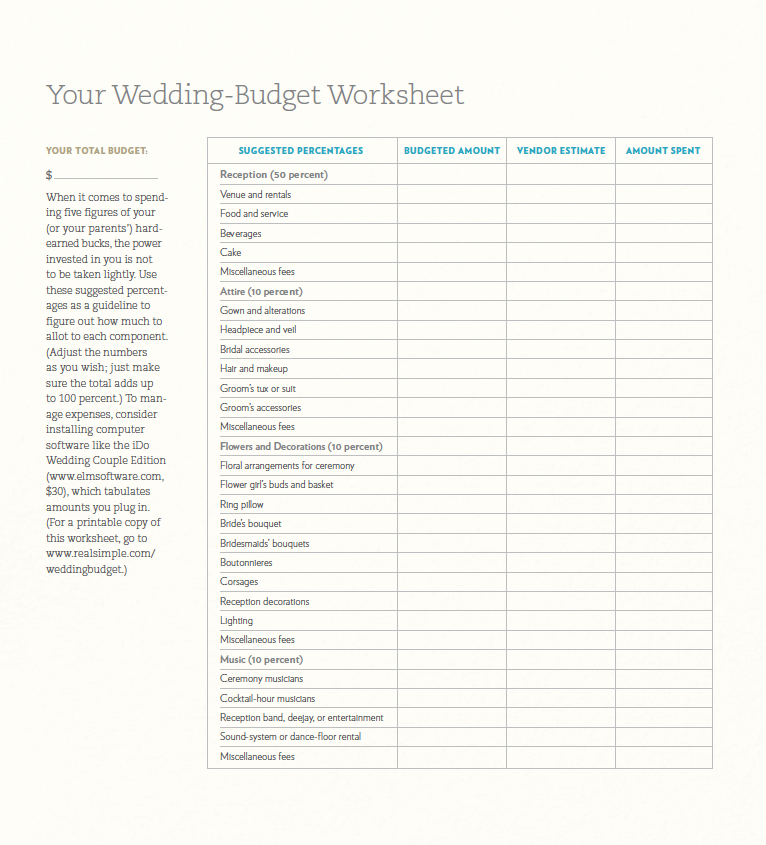 Wedding Budget Worksheet By Real Simple Click Here To Download Pdf