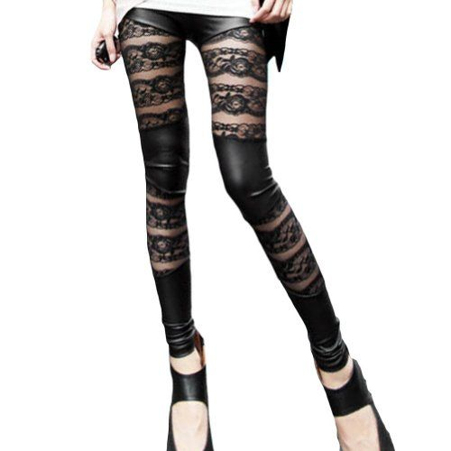 Amour- Women Lace Sheer Mesh Inset Stripes Ankle Length Footless Legging