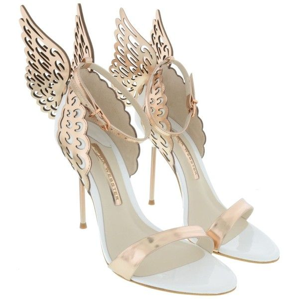 Sophia Webster Shoes ($385) ❤ liked on Polyvore featuring shoes, white rose gold, sophia webster shoes, sophia webster, rose gold shoes and white shoes