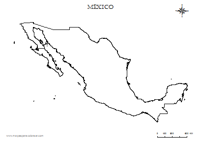 Contorno Del Mapa De Mexico Para Colorear Mapa De Mexico Mapas Disenos De Tatuajes Azteca