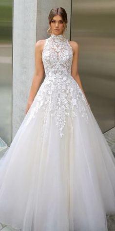 Best Wedding Dresses Collections for 2020/2021 ★ best wedding dresses a line halter neckline lace high neck enzoani