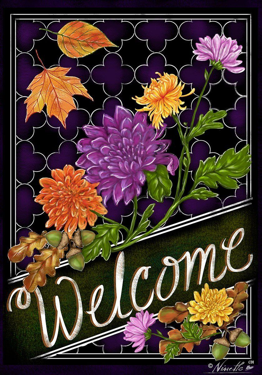 "Amazon.com : WELCOME Mums, Fall Leaves 28""x40"" Standard House Autumn Flag : Patio, Lawn & Garden"