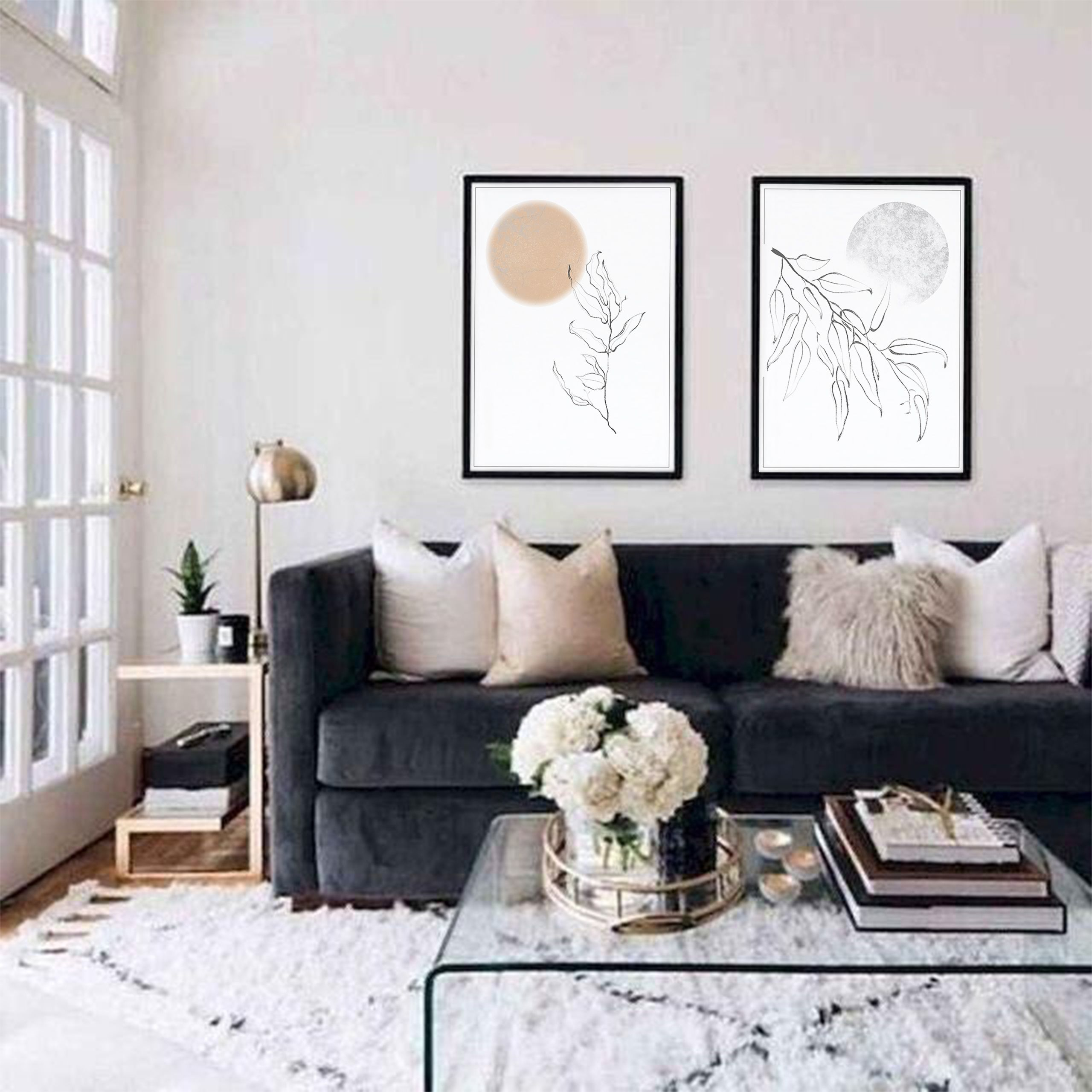 Sun And Moon Print Set Of 2 Modern Minimalist Drawing Wall Etsy In 2021 Black Couch Living Room Black Sofa Living Room Black Living Room
