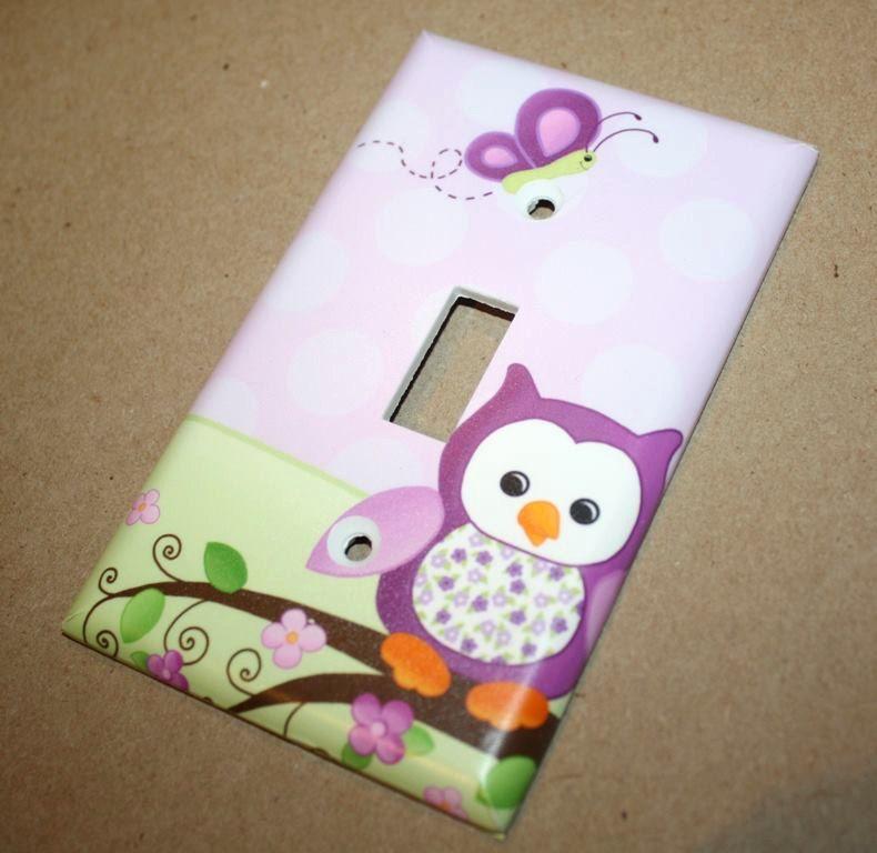 Purple Owl Girls Bedroom Single Light Switch Cover LS0053