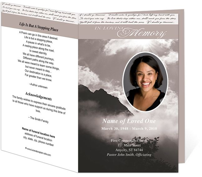 Printable Funeral Bulletins Template Outdoor Theme  Mountain Top