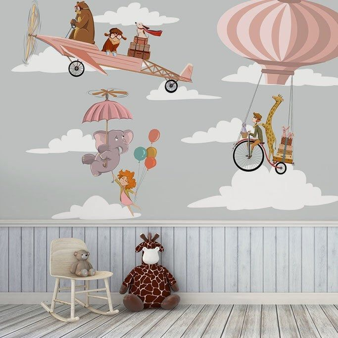 Kids mural with animals Yellow wallpaper for baby room ...