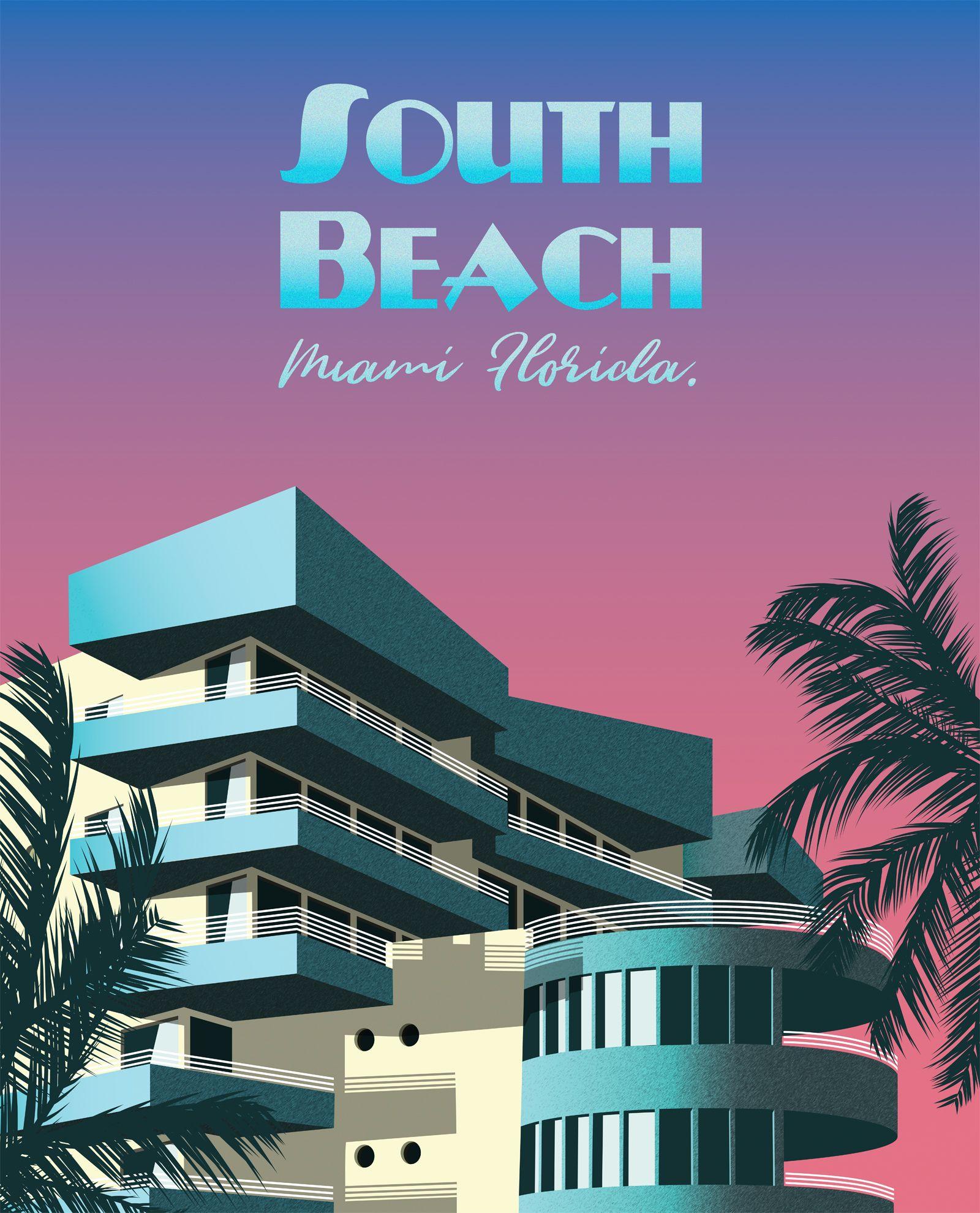 South Beach Miami Retro Travel Poster Miami Art Deco Florida Art Deco Retro Travel Poster