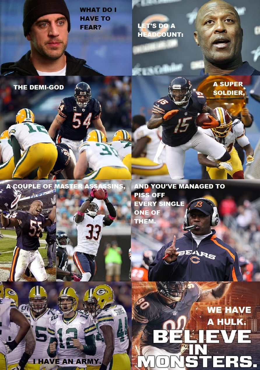 """A Chicago Bears """"Avengers"""" parody meme. In response to"""
