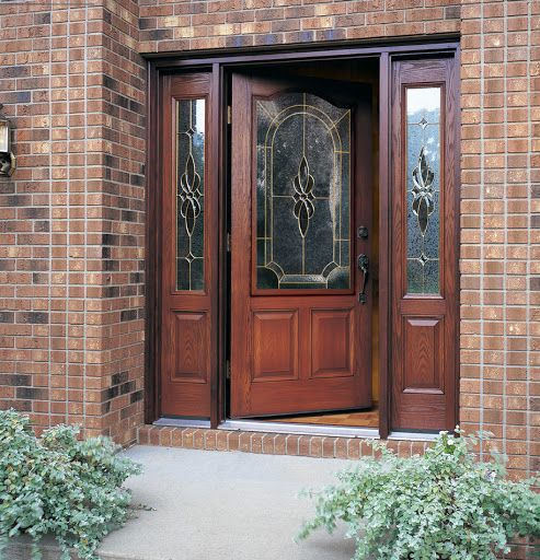 Stained Fibergl Front Entry Door With 3 4 Gl Inserts Has The Beauty Of Real Wood