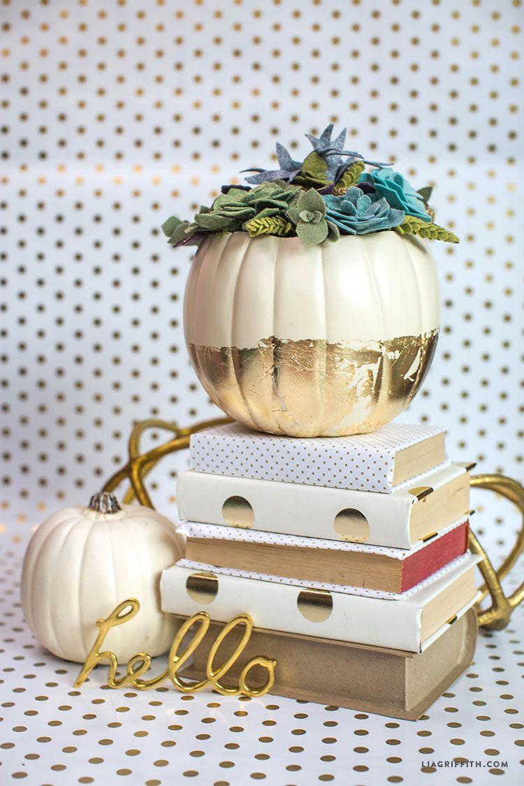 Felt Succulent Pumpkin Centerpiece | Felt succulents, Pumpkin ...