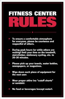 Fitness Center Rules Professional Gym Wall Chart Poster