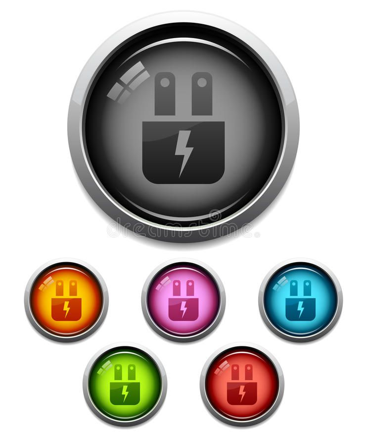 Glossy electric plug icon Glossy electric plug button icon set in 6 colors