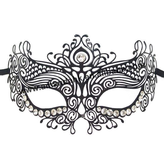 The mask is decorated with shinning Rhinestones and