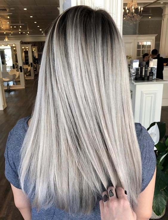 Gorgeous Ash Blonde Color Melts For Sleek Straight Hairstyles In 2019 Primemod Straight Hairstyles Hair Styles Medium Length Hair Straight