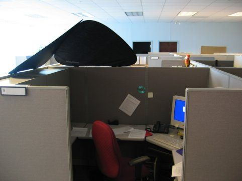 Cubeshield Blocks Light From Parking Lot Cubicle Corner