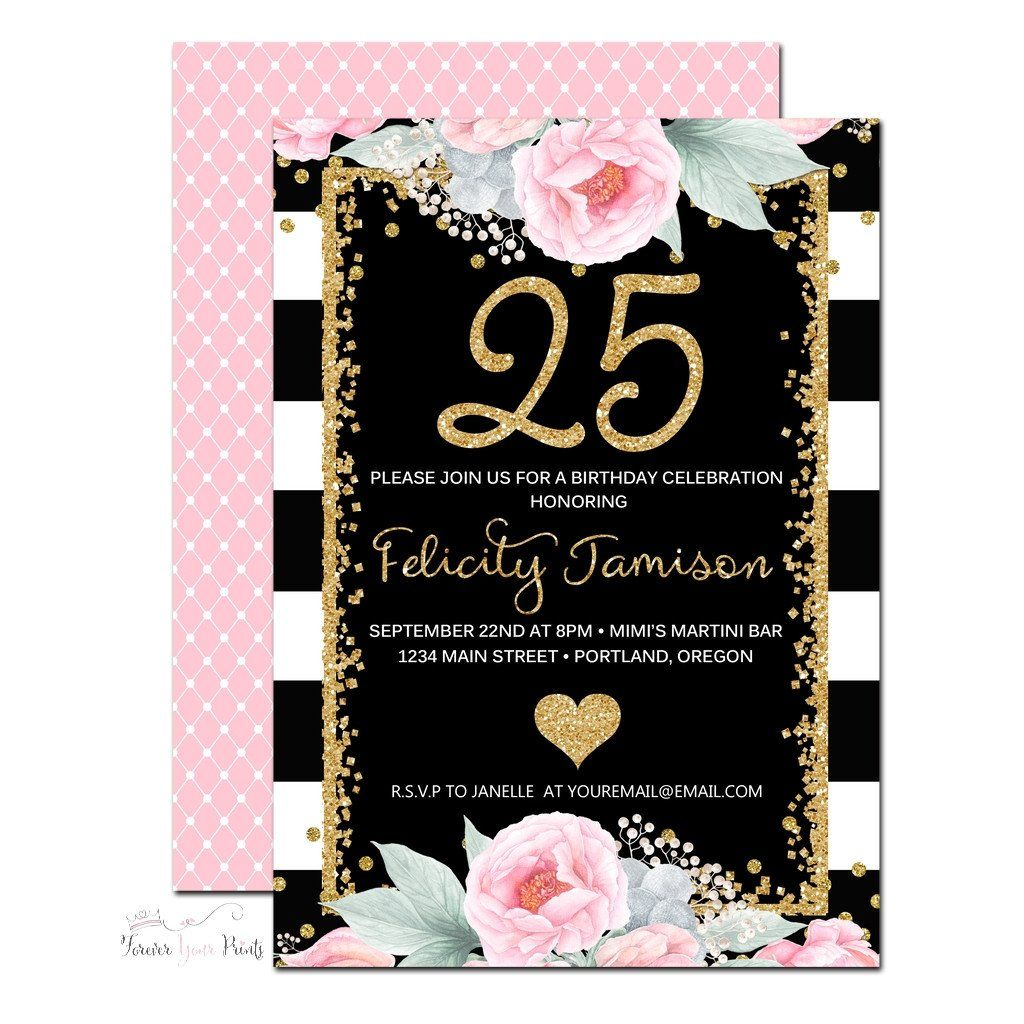 Black And White Striped Printable 25th Birthday Invitation