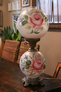 Jumbo Gone With The Wind Double Globe Hand Painted Hurricane Lamp W Roses Hurricane Lamps Victorian Lamps Globe Lamps