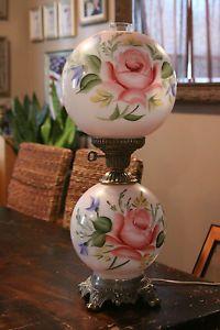 Jumbo Gone With The Wind Double Globe Hand Painted Hurricane Lamp
