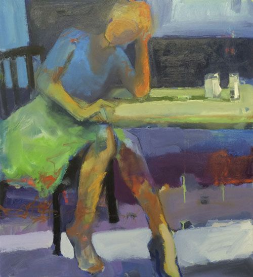Melinda Cootsona Daydream an abstract figurative oil painting at Seager Gray Gallery in Mill Valley CA near San Francisco Bay Area.