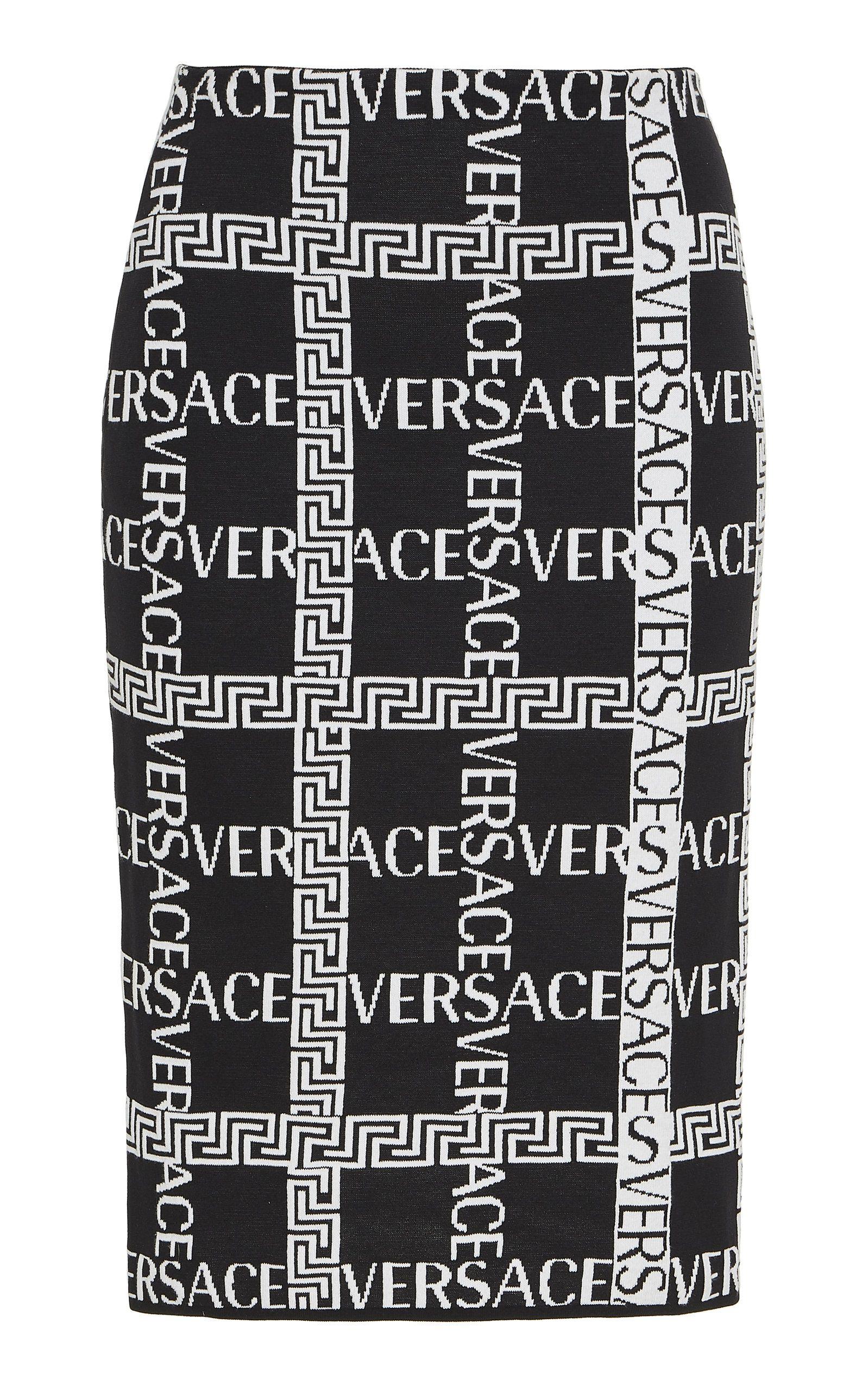 cfcd991a9 Logo Cotton-Blend Pencil Skirt by VERSACE for Preorder on Moda Operandi