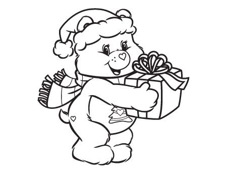 Christmas Teddy Bear Coloring Page Print Vintage 60s 70s 80s