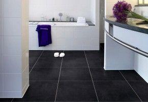 Strak hoor zwarte tegels pvc vloer badkamer ideeën voor het