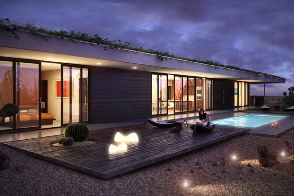 Plano de casa moderna de 1 planta y dos dormitorios ...