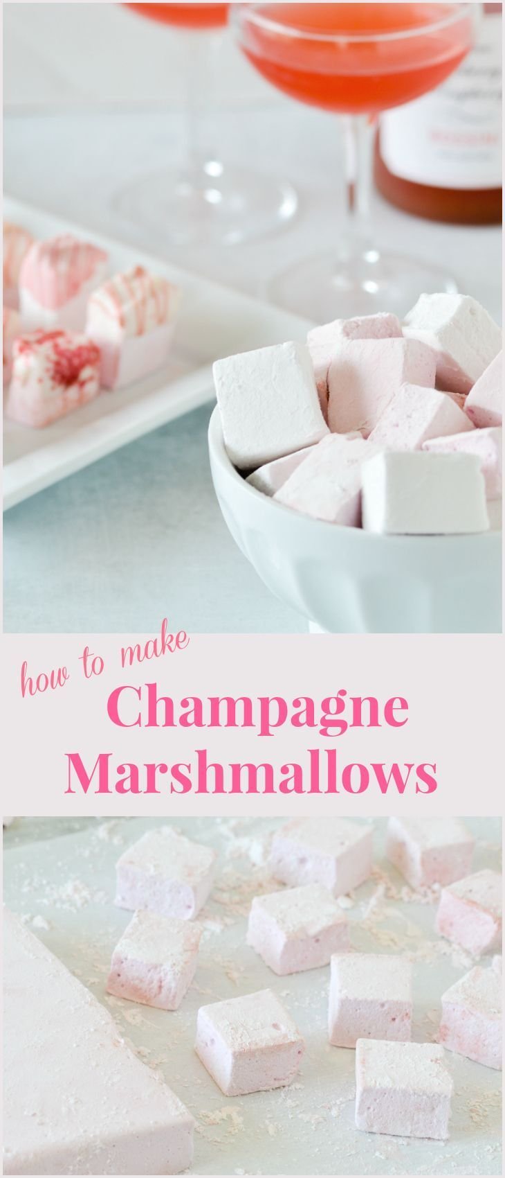 Champagne Marshmallows - Partylicious #flavoredmarshmallows