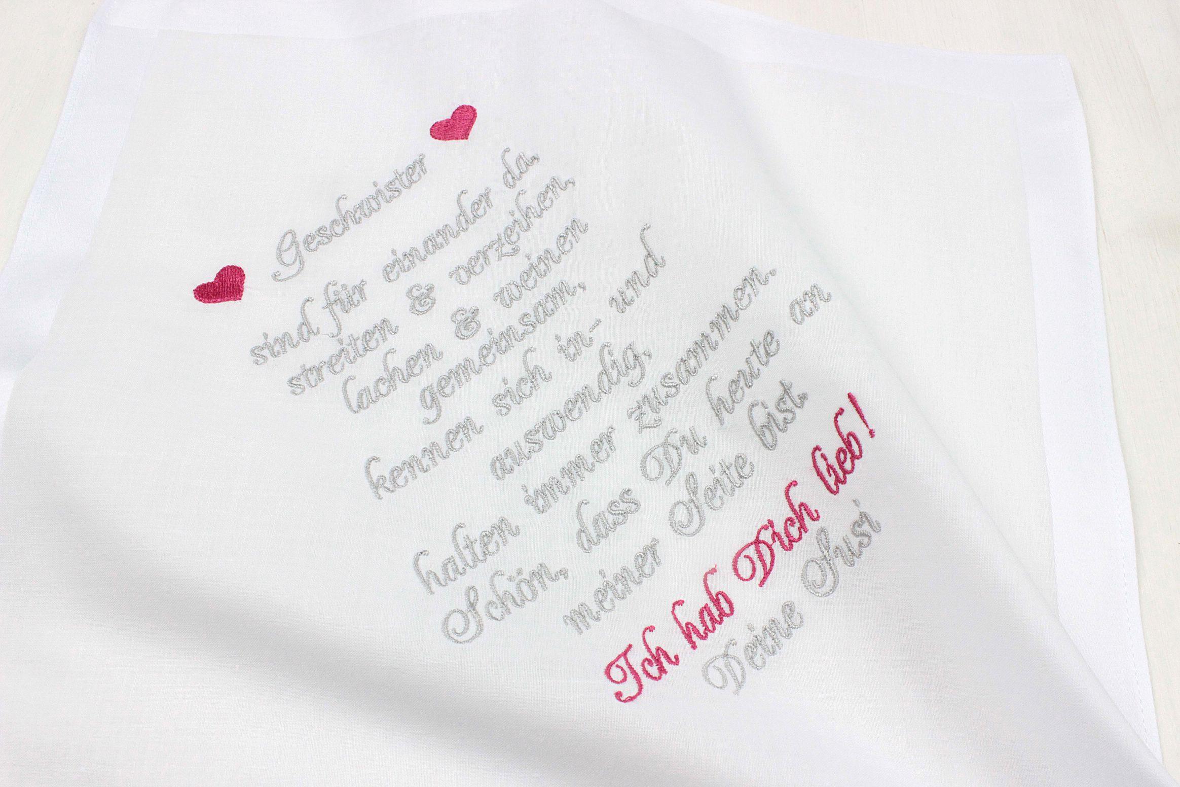 Besticktes Taschentuch Schwester Oder Bruder Mazunikate Wunsche Zur Hochzeit Text Hochzeit Gluckwunsche Hochzeit