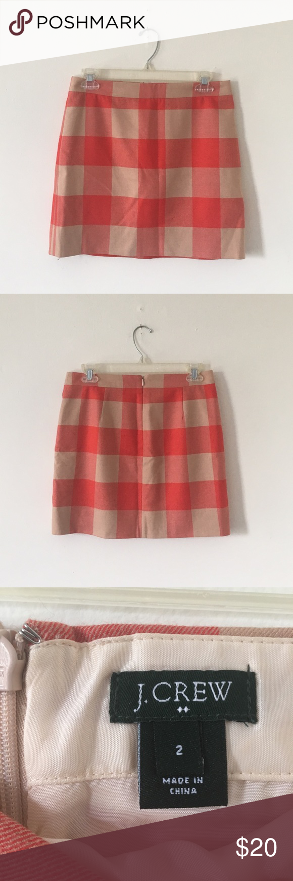 J. Crew Plaid Wool Blend Mini Skirt Red and tan Plaid mini skirt in excellent condition. Barely worn. 38% Wool 30% polyester 29% viscose 3% spandex with 100% viscose lining. Lightweight Wool blend J. Crew Skirts Mini