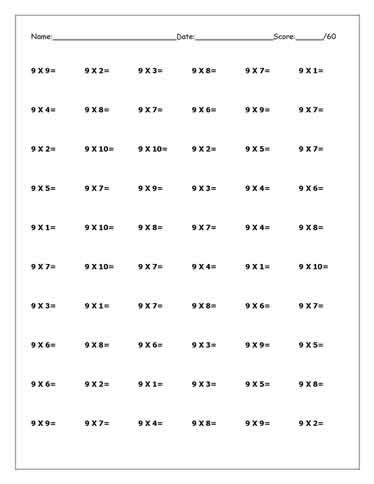 Free times tables worksheets times tables worksheets for Table 9 multiplication