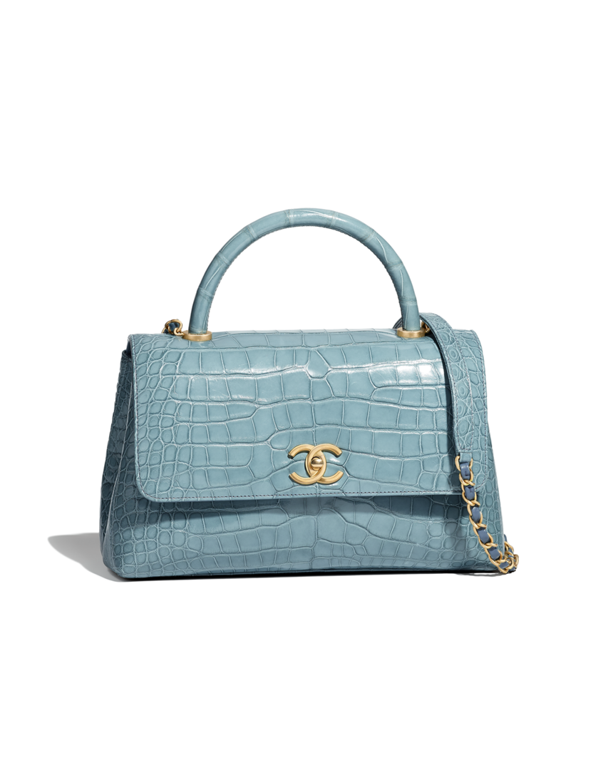 38a142a4b Flap bag with top handle, alligator & gold-tone metal-blue - CHANEL ...