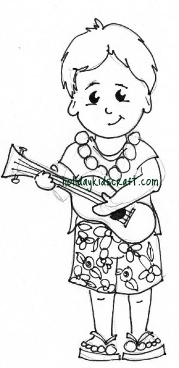 Little Boy Playing Ukulele In Hawaiian Coloring Page Free Online
