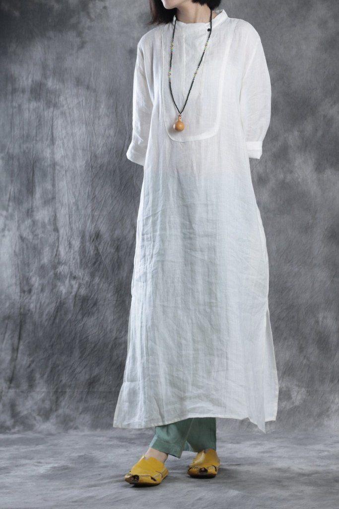 Shirt Long Hør White Linen Summer In Women Pure Dress PqvzAz