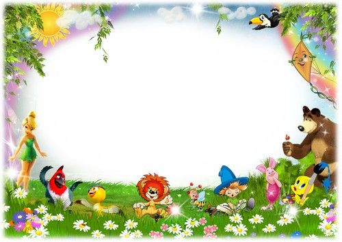 Border Design Disney Character : Children photoshop frame psd file with cartoon characters