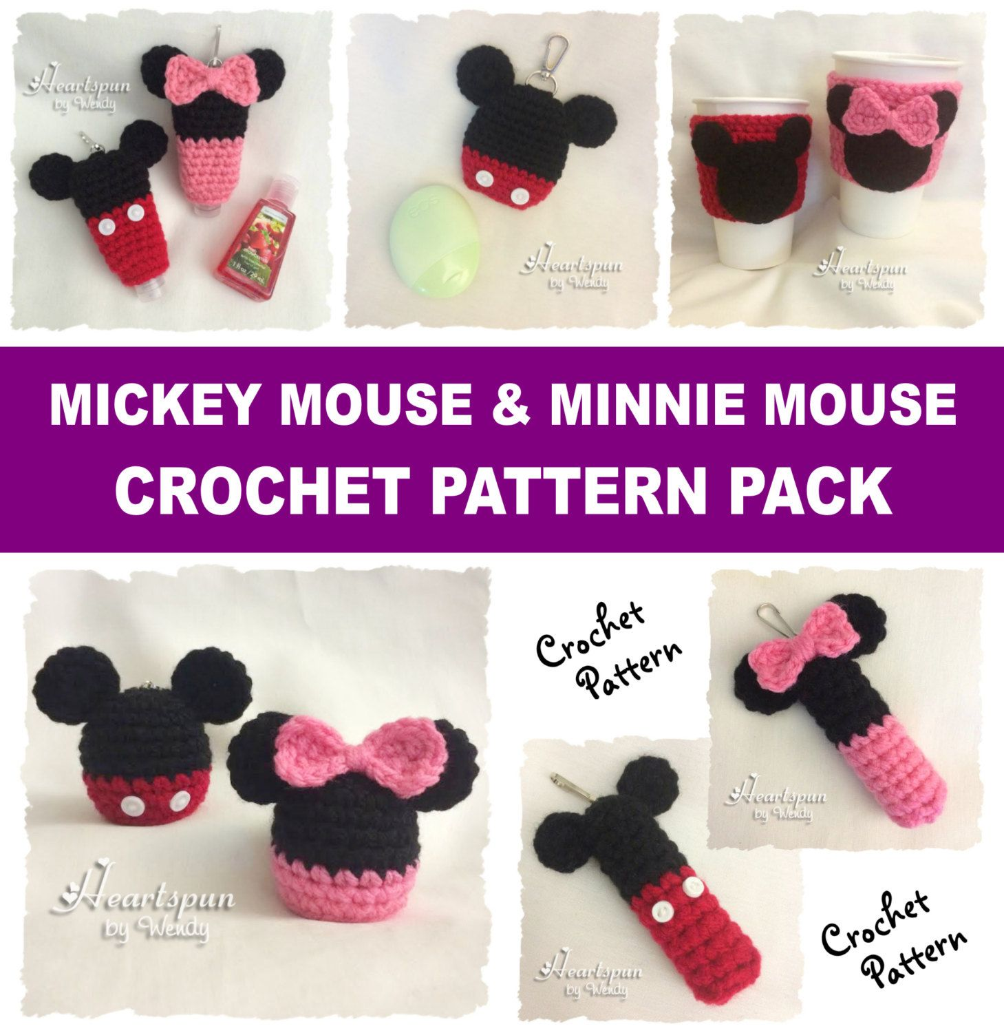 Crochet pattern bundle mickey mouse and minnie mouse holders for crochet pattern bundle mickey mouse and minnie mouse holders for eos lip balm eos lotion chapstick bankloansurffo Choice Image