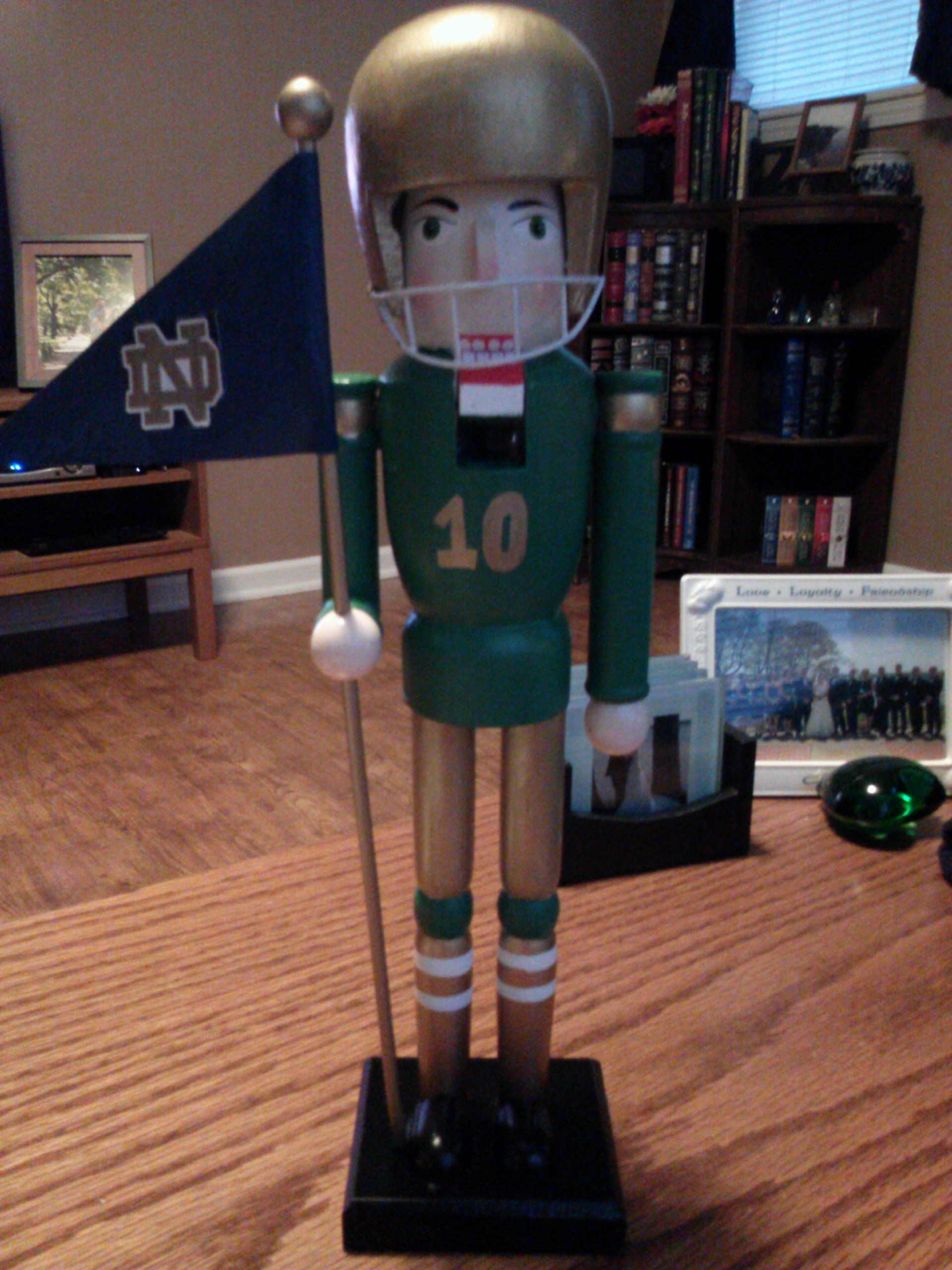 Notre Dame football player nutcracker. Painted design on clearance ...