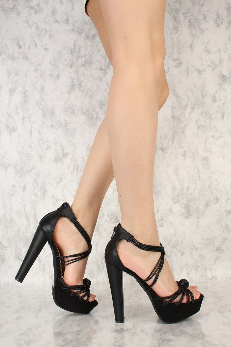 15c6a5b5eee Black Strappy Knotted Accent Open Toe Platform Pump Chunky High Heels Faux  Leather