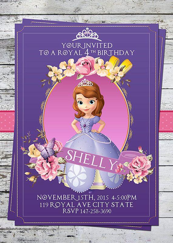 Sofia the first birthday party invitation kids birthday - Foto princesa sofia ...