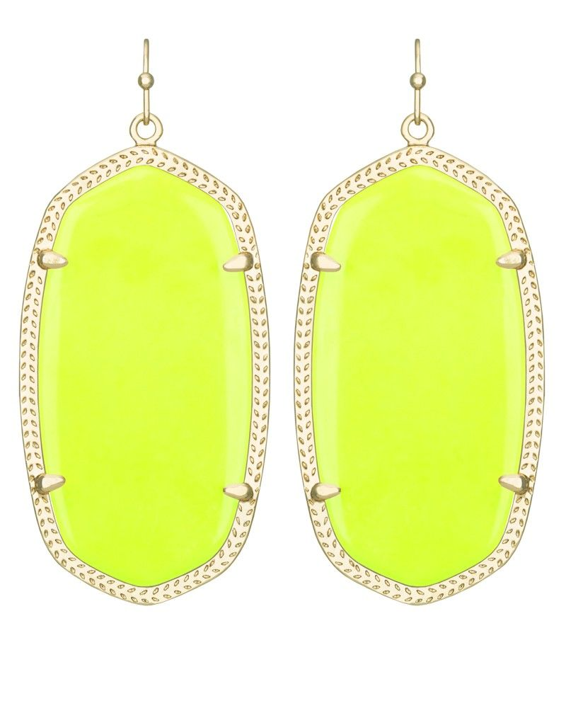 danielle earrings in neon yellow use code hautehues to