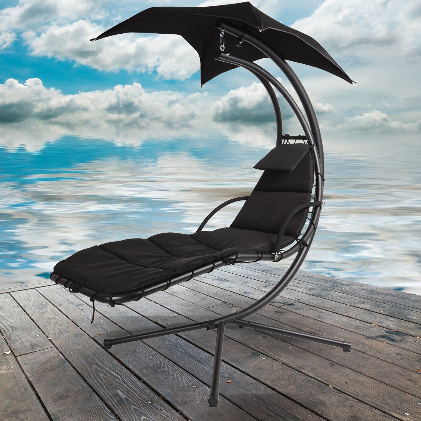 Black Dream Chair Garden Hammock Canopy Swing Sun Lounger ... on Hanging Helicopter Dream Lounger Chair id=83459