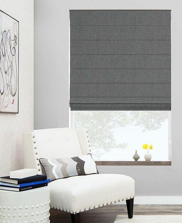 Faltrollo Selber Nähen Grau Fenster Deko Wohnzimmer Raffrollos