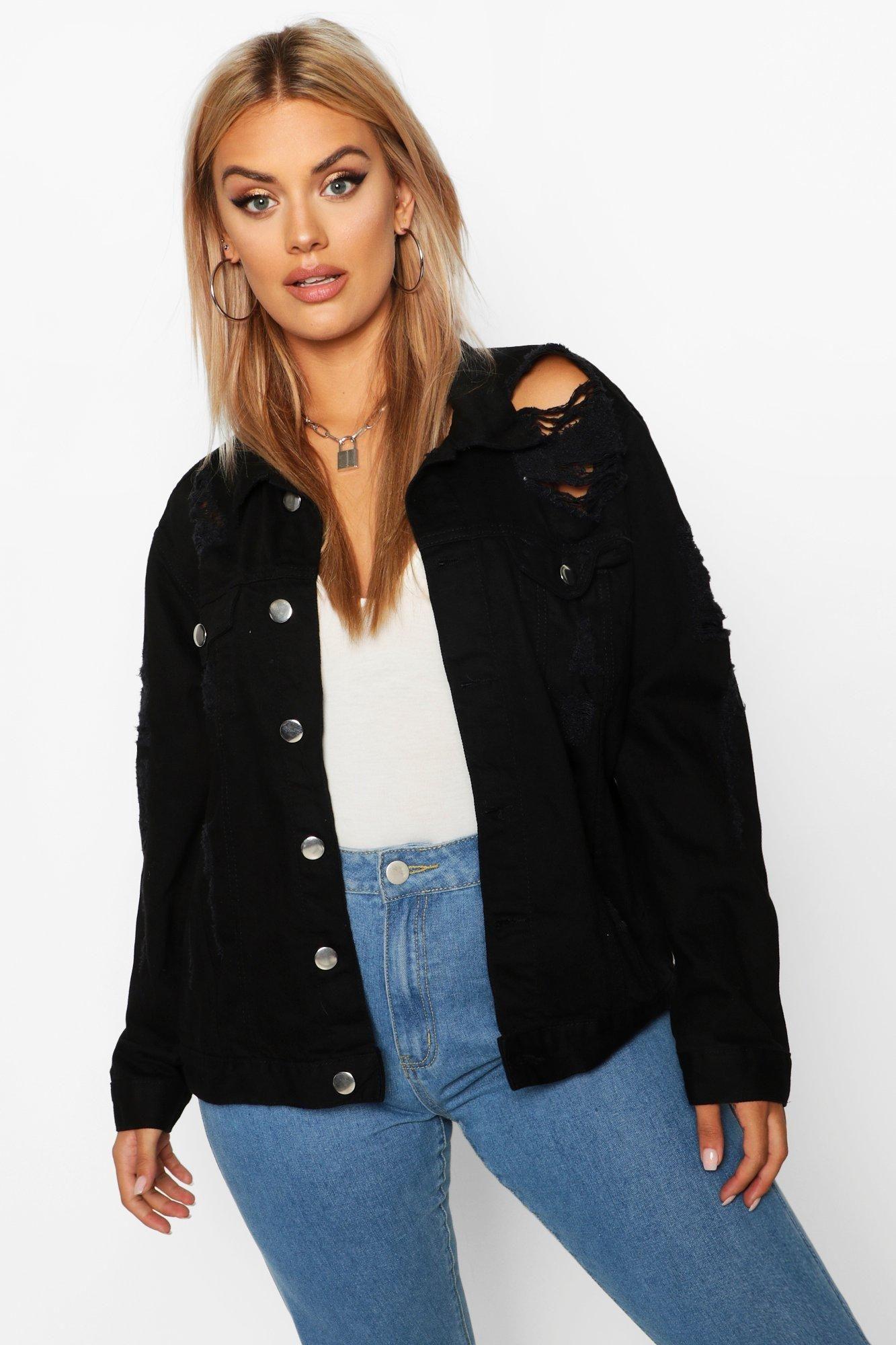 Plus Oversized Distressed Denim Jacket Boohoo Oversized Distressed Denim Jacket Jacket Outfit Women Denim Jacket [ 2000 x 1333 Pixel ]
