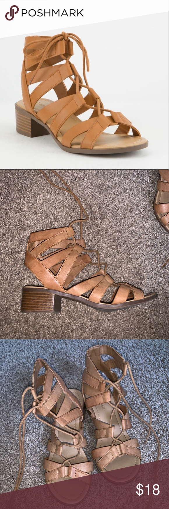 6febb634fef City classified strappy lace up cognac sandals 9 Size 9 women strappy lace  up sandals Cityclassified